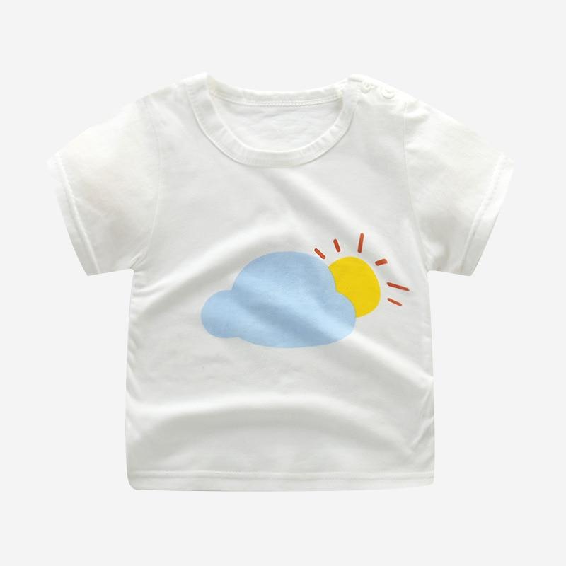 Baby Girls T-Shirts Summer Short Sleeve Baby Clothing Cotton Tee Tops Cartoon Animal Print Boy Clothes Kids T-Shirt 12M3T6T24M