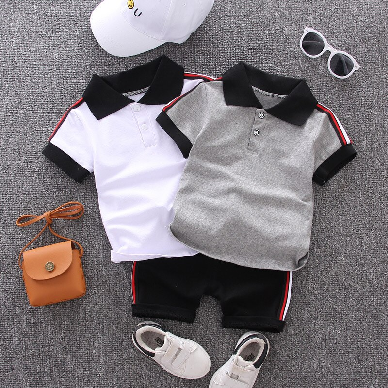 Baby Boy Clothes Sets 2020 Summer Casual Cotton Kid Turn-down Top + Black Shorts Toddler Short Sleeve Golf Sports Suit Clothing