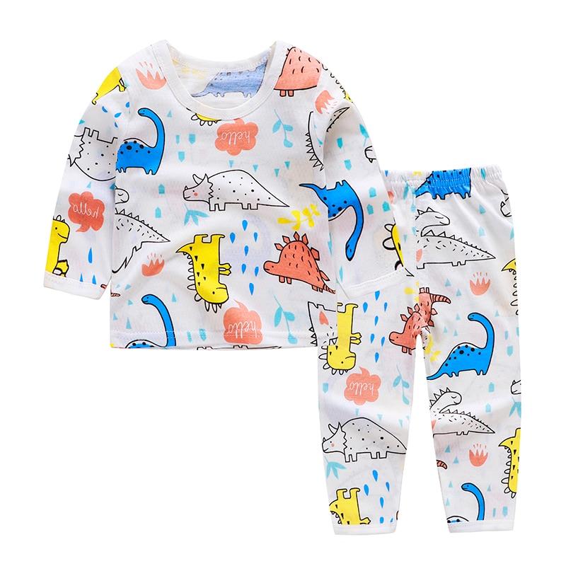 Cute Children's Autumn Pajamas Clothing Set Cartoon Boys & Girls Sleepwear Suits Kids Long Sleeves Top + Pants Baby Home Clothes