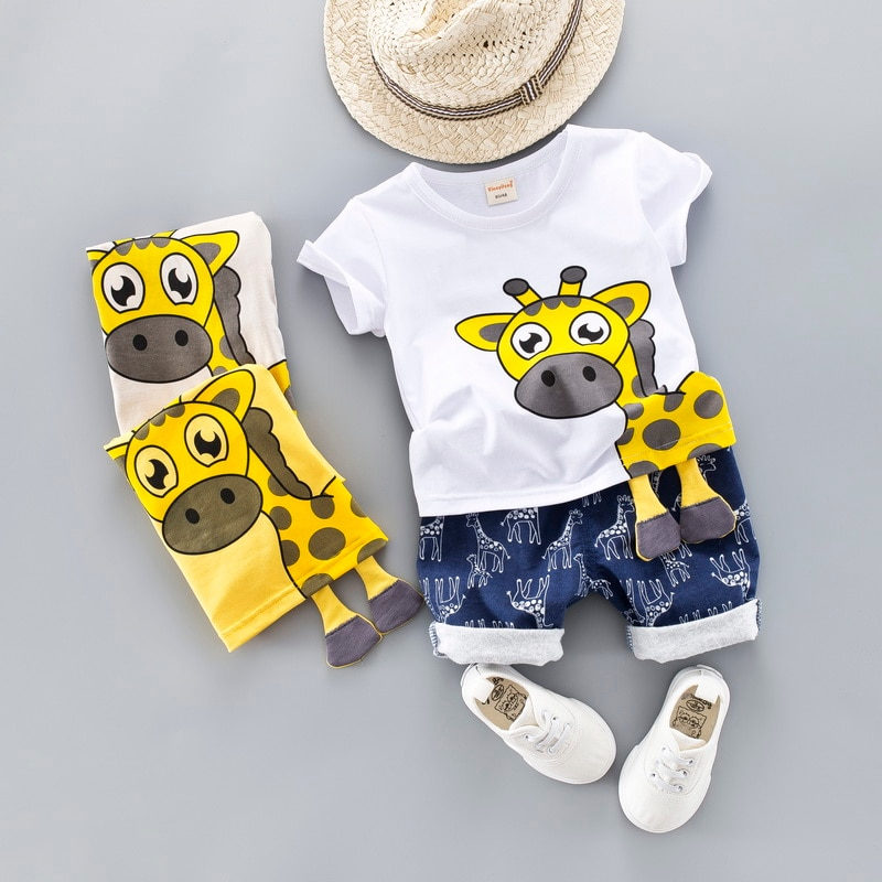 Baby Clothing Set for Boys Girls Cute Summer Casual Clothes Set Giraffe Top Blue Shorts Suits Kids Clothes 1-4 Years
