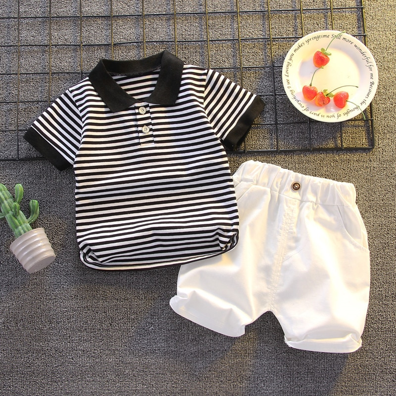 Summer Kids Sets Boys Fashion Cotton Sets Toddler Boy Clothes Short Sleeve Striped Polo Tops + Shorts Two-piece Children's Sets