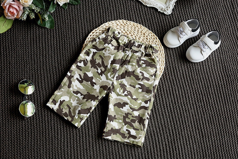 Children's Camouflage Army Fan Set Children's Clothing Sets Kids Short Sleeves TShirt+Shorts Suits Toddler Boys Girls Clothes