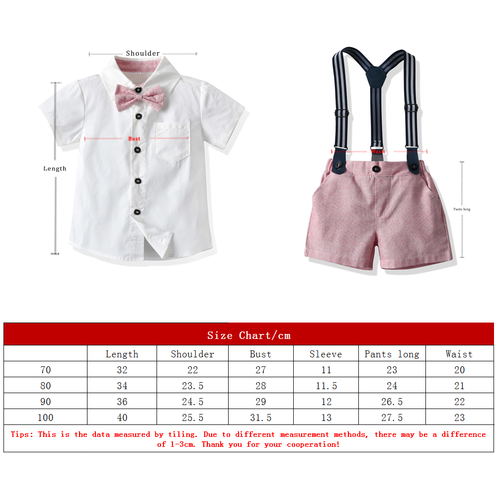 Top and Top Toddler Boys Clothing Set Newborn Gentleman Suit Short Sleeve Bowtie Shirt+Suspender Shorts Casual Baby Boy Clothes