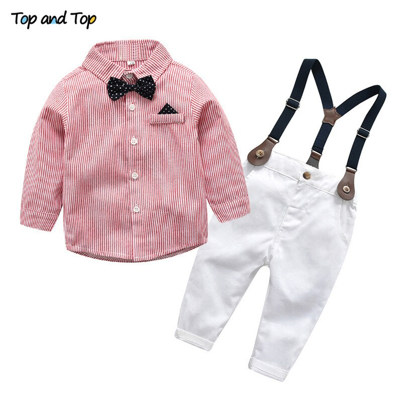 Top and Top Baby Boy Clothing Set Newborn Baby Boys Gentleman Clothes Infant Long Sleeve Shirt+Overalls 2PCS Bebes Outfits Set