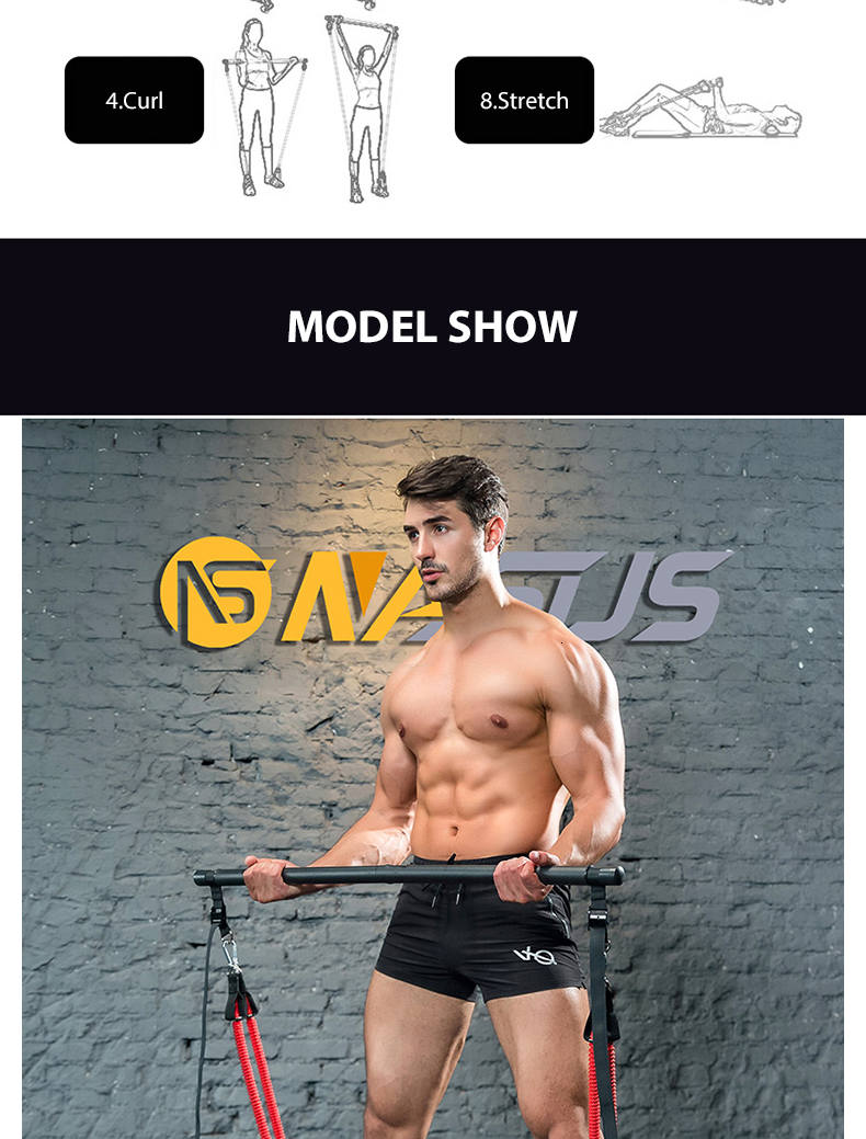Muscle Tension Bar With Resistance Bands Rubber Loops Trainer Body Workout Fitness Equipment Home Gym Pull Rope Stick HW208