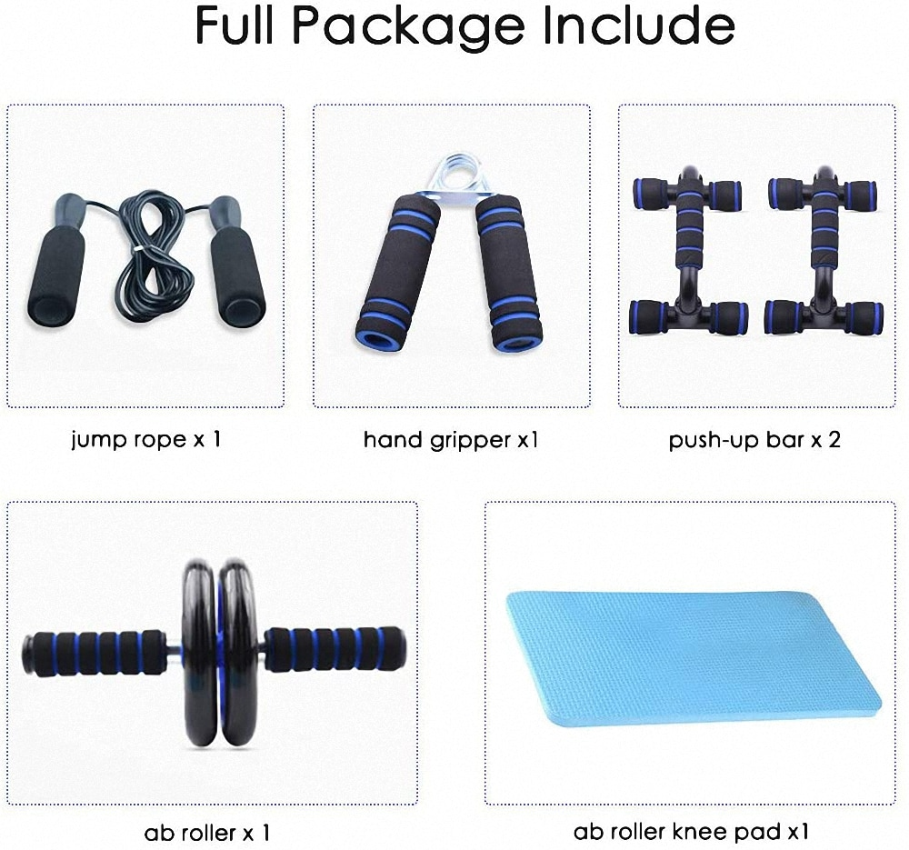 7Pcs/Set Muscle Exercise Equipment Abdominal Press Wheel Roller Home Fitness Equipment Gym Roller Trainer with Push UP Bar Set