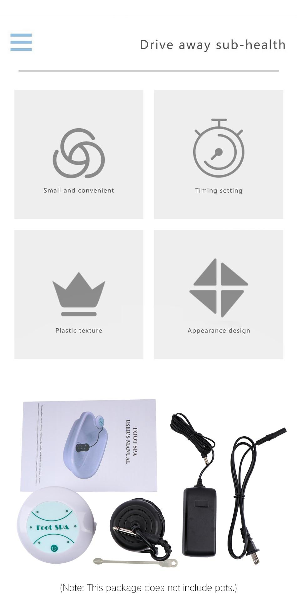 Home Ion Cleanse Detox Foot Spa Plastic Foot Tub Bucket Foot Bath Detox Device Ionic Detox Machine Men Women Health Care Tools