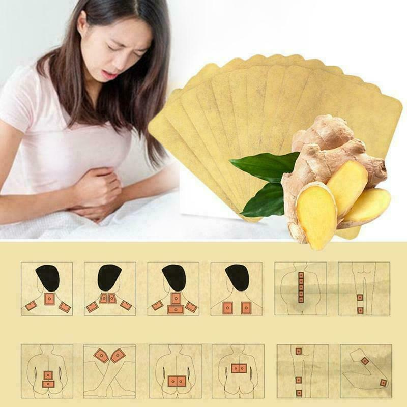 10PCS Ginger Detox Patches Body Neck Knee Pad Herbal Pain Relief Health Care Body Detox Foot Patch Ginger Adhesive Pads TSLM1