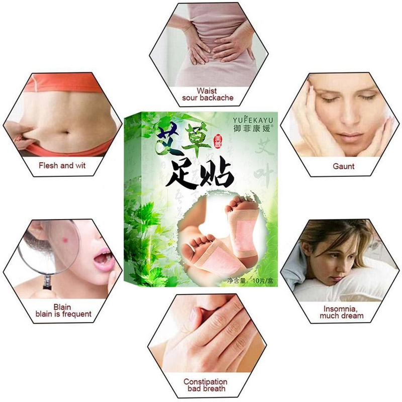 10pcs/bag Herbal Detox Wormwood Foot Patch Detoxification Relieving Pain Cold Moisture Sleep Help Pads Massager Foot Foot P8L4