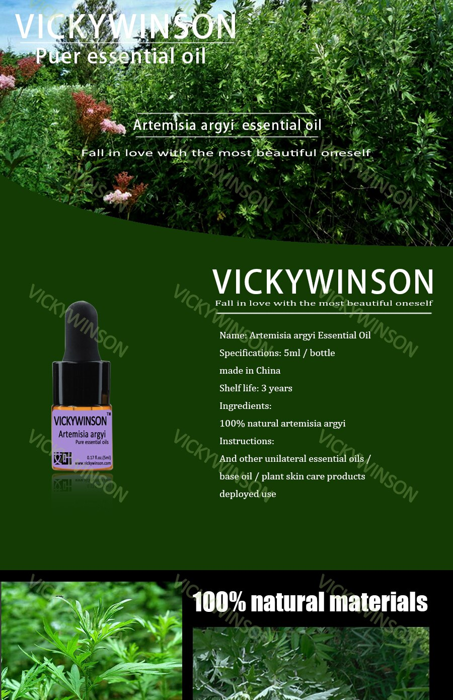 VICKYWINSON Artemisia argyi essential oil 5ml 100% pure medicine Argy Wormwood Leaf herbal Essential oils  WD1