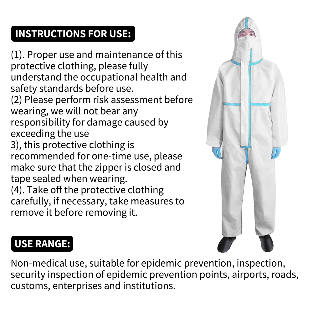 Professional Hooded protective clothing Antibacterial Protective Suit Chemical Protective Dust-proof Clothing Health protection