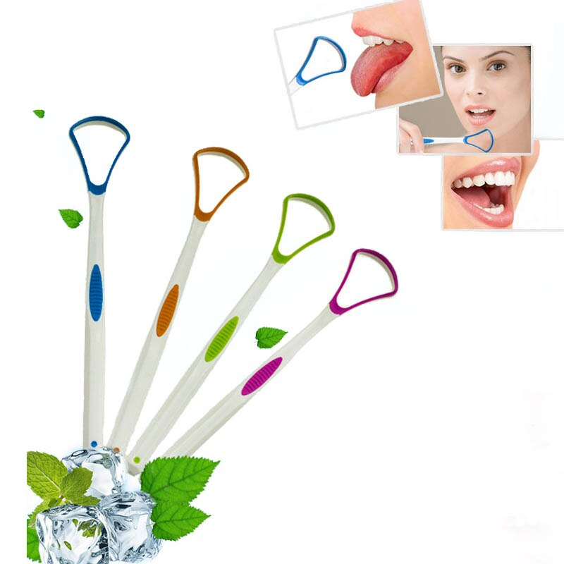 Oral Hygiene Tools Tongue Cleaner Removed Bad Breath Hand Scraper Brush  Portable Dental Care Cleaning 1 PC Silica Handle