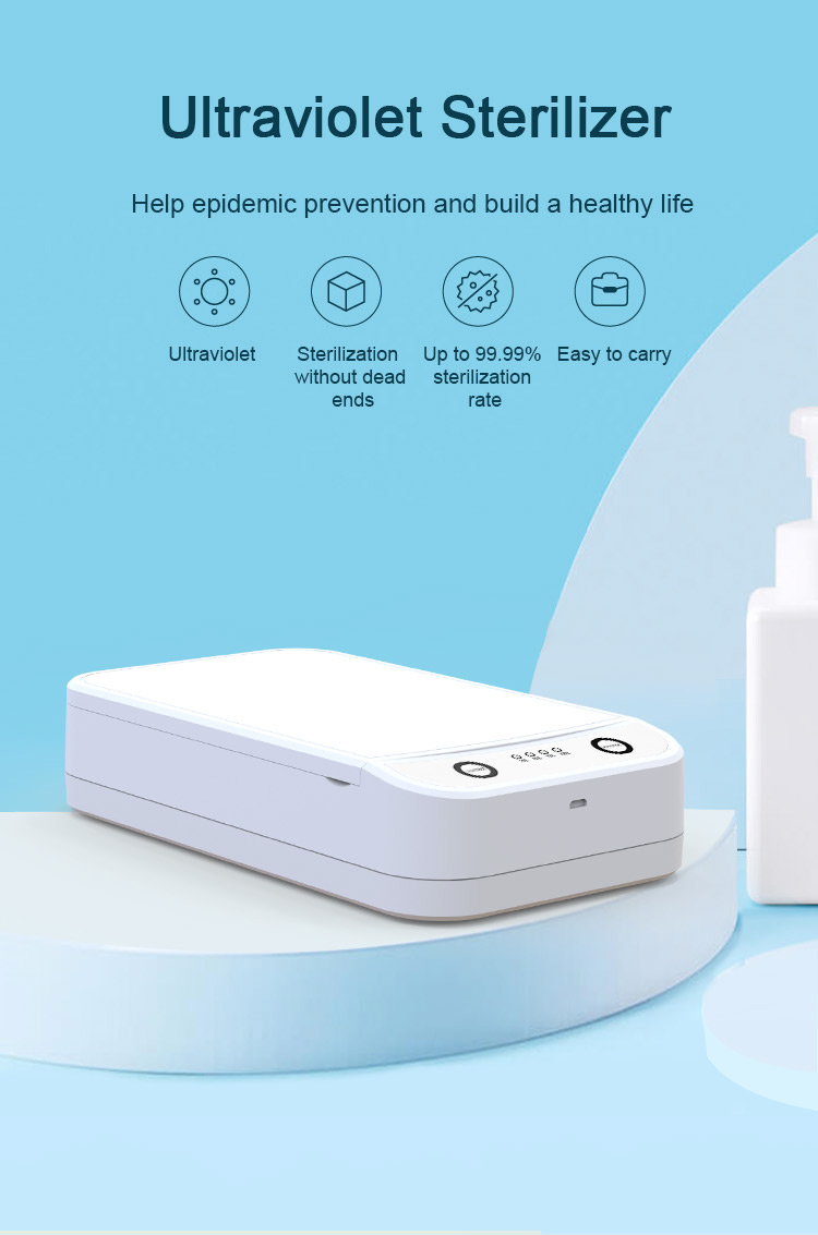 UV Light Sterilizer Box White USB Phone Sanitizer Case Up to 99.9% Sterilization Rate For Smartphone Wristband Mask Toothbrush