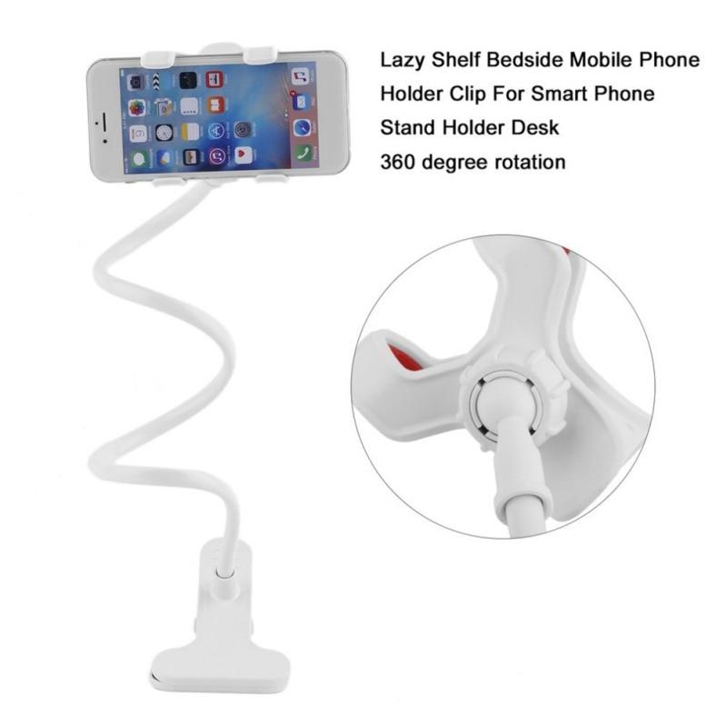 Universal Lazy Mobile Phone Gooseneck Stand Holder Stents Flexible Bed Desk Table Clip Bracket for Phone Flexible Holder Arm