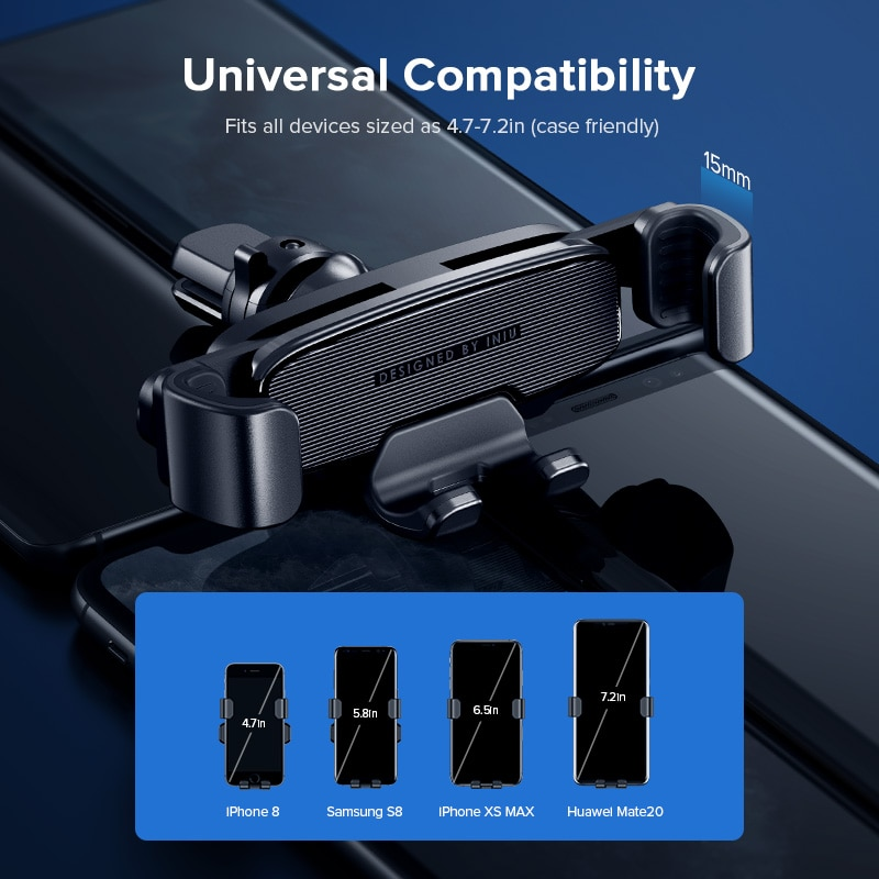 INIU Gravity Car Holder For Phone in Car Air Vent Mount No Magnetic Mobile Cell Phone Holder GPS Stand For iPhone Xiaomi Samsung