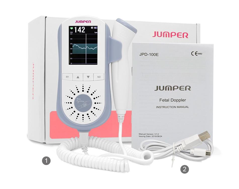 JUMPER Fetal Doppler Heartbeat Detector Portable Ultrasound Pregnant Baby Heart Rate Monitor LCD 2.5MHz Pocket Doppler