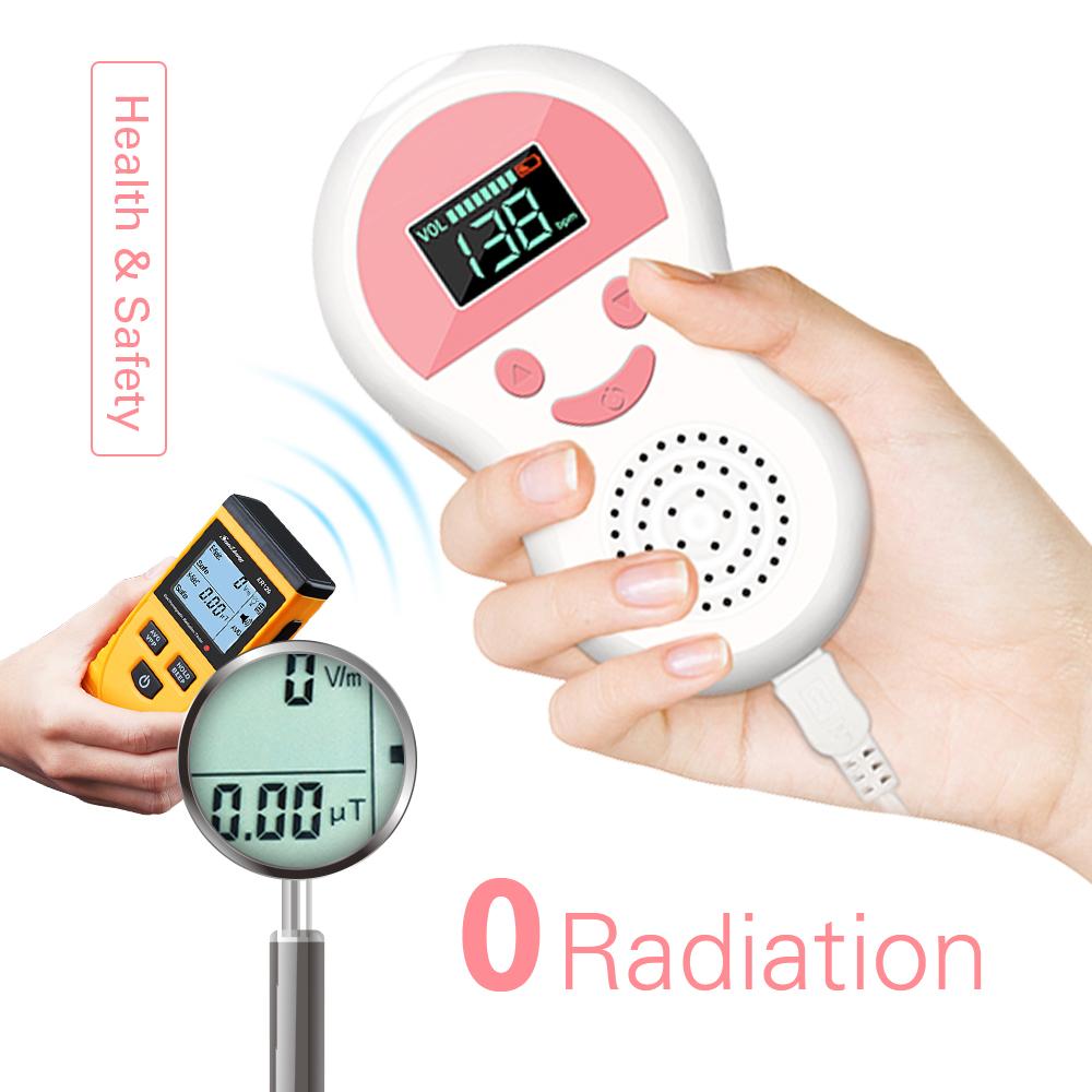 2.5MHz Prenatal Fetal Doppler Ultrasound Baby Heartbeat Monitor Pocket Pregnant Fetal Pulse Detector Heart Rate Meter 2 Modes