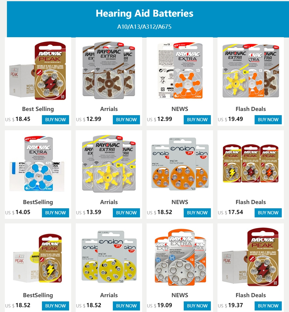 RAYOVAC EXTRA 30 PCS Zinc Air Performance Hearing Aid Batteries 13 A13 P13 PR48 Cell Button Battery for BTE ITE Hearing Aids
