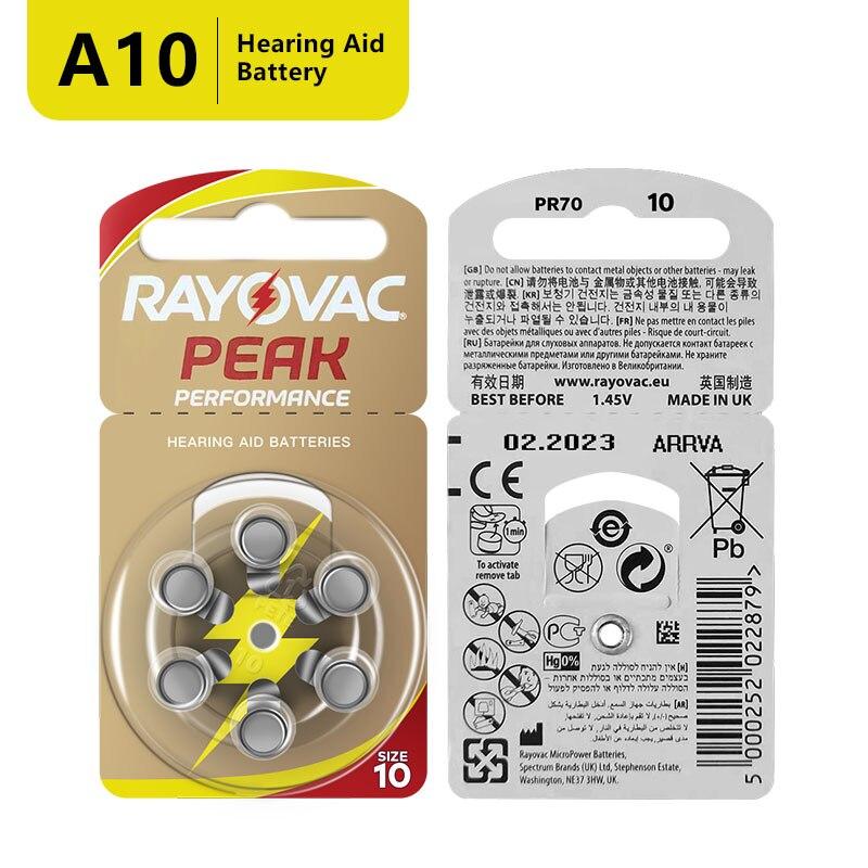 120 Pcs Rayovac Peak Zinc Air Hearing Aid Batteries A13 PR48 ZA13 A312 PR41 ZA312 10A PR70 ZA10 Battery For Hearing aids