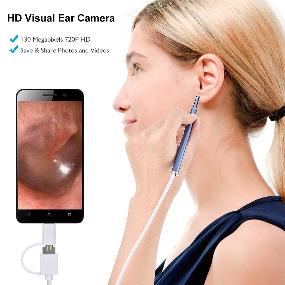 1.3MP USB Earpick Ear Wax Remover Cleaning Tool 720P Inspection Visual Ear Spoon Endoscope Visual Ear Cleaner with 6 Led Lights