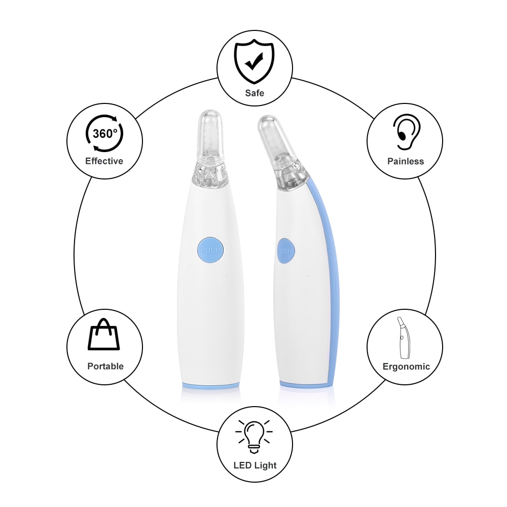 Ear Wax Cleaner Painless Powered Safety Cordles Electric Cleaning Tool with 4 Removable Silicone Nozzle Head for Babies Adults