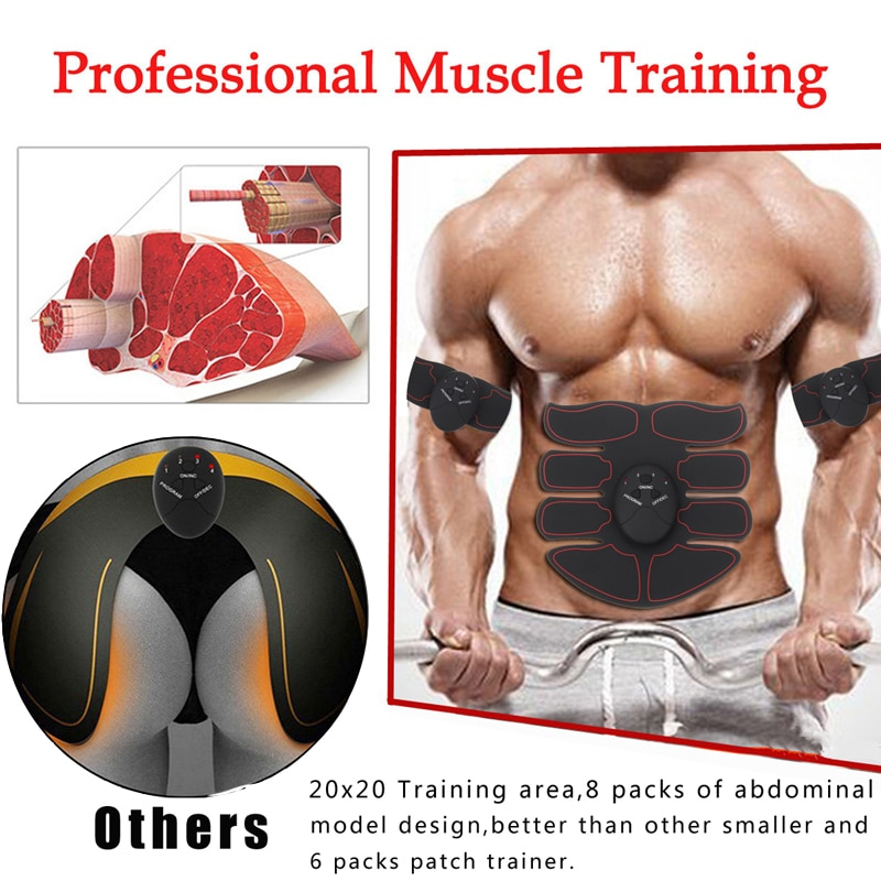Electric muscle stimulator ems wireless hip buttocks trainer abdominal abs fitness stimulator body weight loss massager
