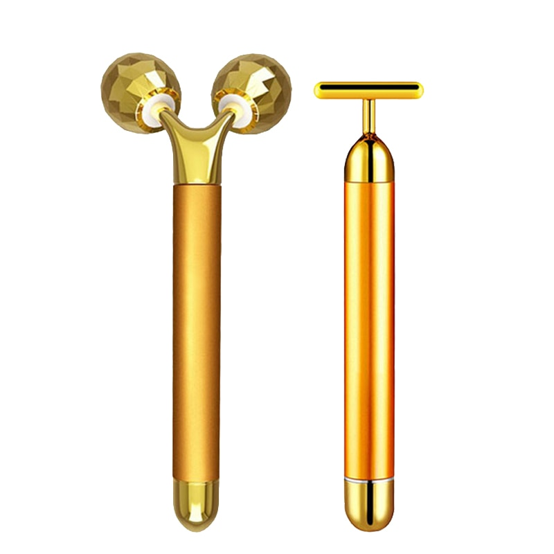 24k Gold Energy Beauty Bar Set 3d Face Vibration Massager Facial Massager Anti Aging Skin Tighten Firm Roller Reduce Double Chin