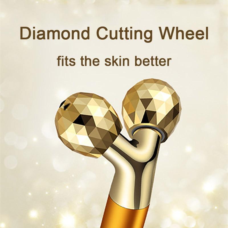 24k Gold Energy Beauty Bar Set 3d Face Vibration Massager Facial Massager Anti Aging Skin Tighten Firm Roller Reduce Double Chin