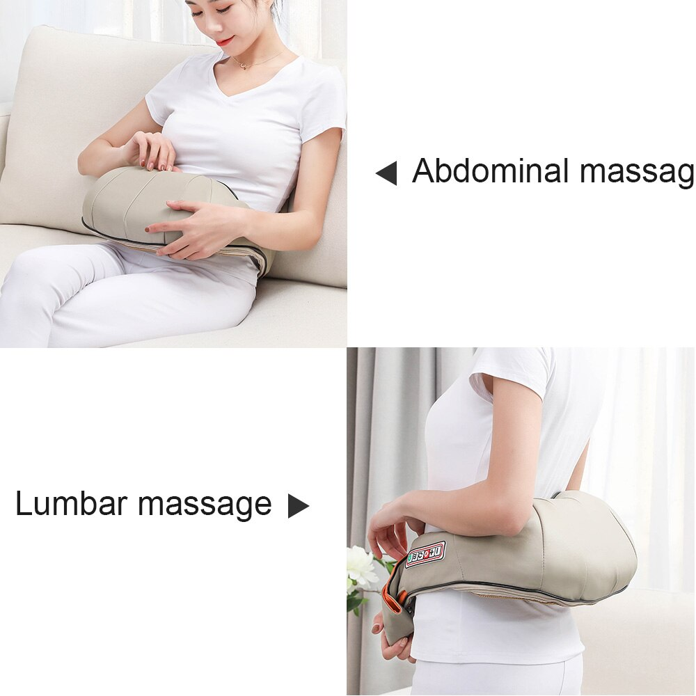 U Type Electrical Car/Home Massage Shiatsu Back Shoulder Neck Massager Multifunctional Shawl Infrared Heated Kneading Massager