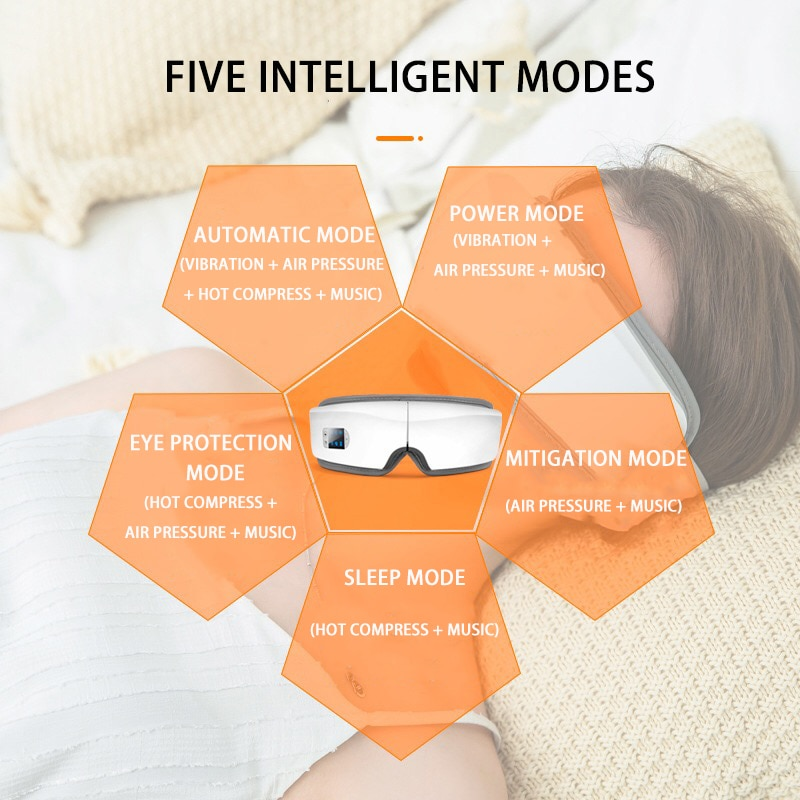 4D Smart Airbag Vibration Eye Massager Eye Care Instrument Hot Compress Bluetooth Eye Fatigue Massage Glasses