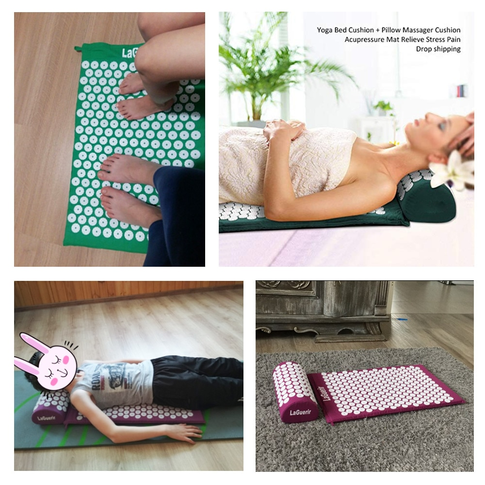 Massager(62*38cm)ABS Spike Acupressure Mat Massage Cushion Mat  Acupuncture Spike Yoga Relieve Pain Improve Sleep Free Shipping