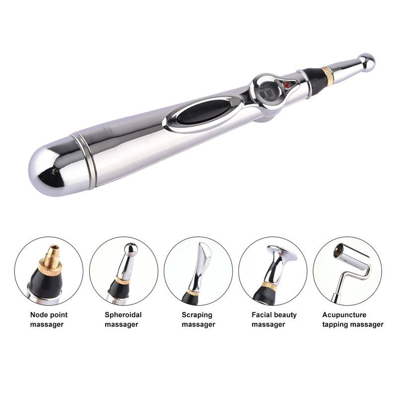 New 5 in 1 Meridian Energy Pen Pain Relief Electric Acupuncture Magnet Therapy Pen 9 Gears Body Massage With 5 Massage Heads