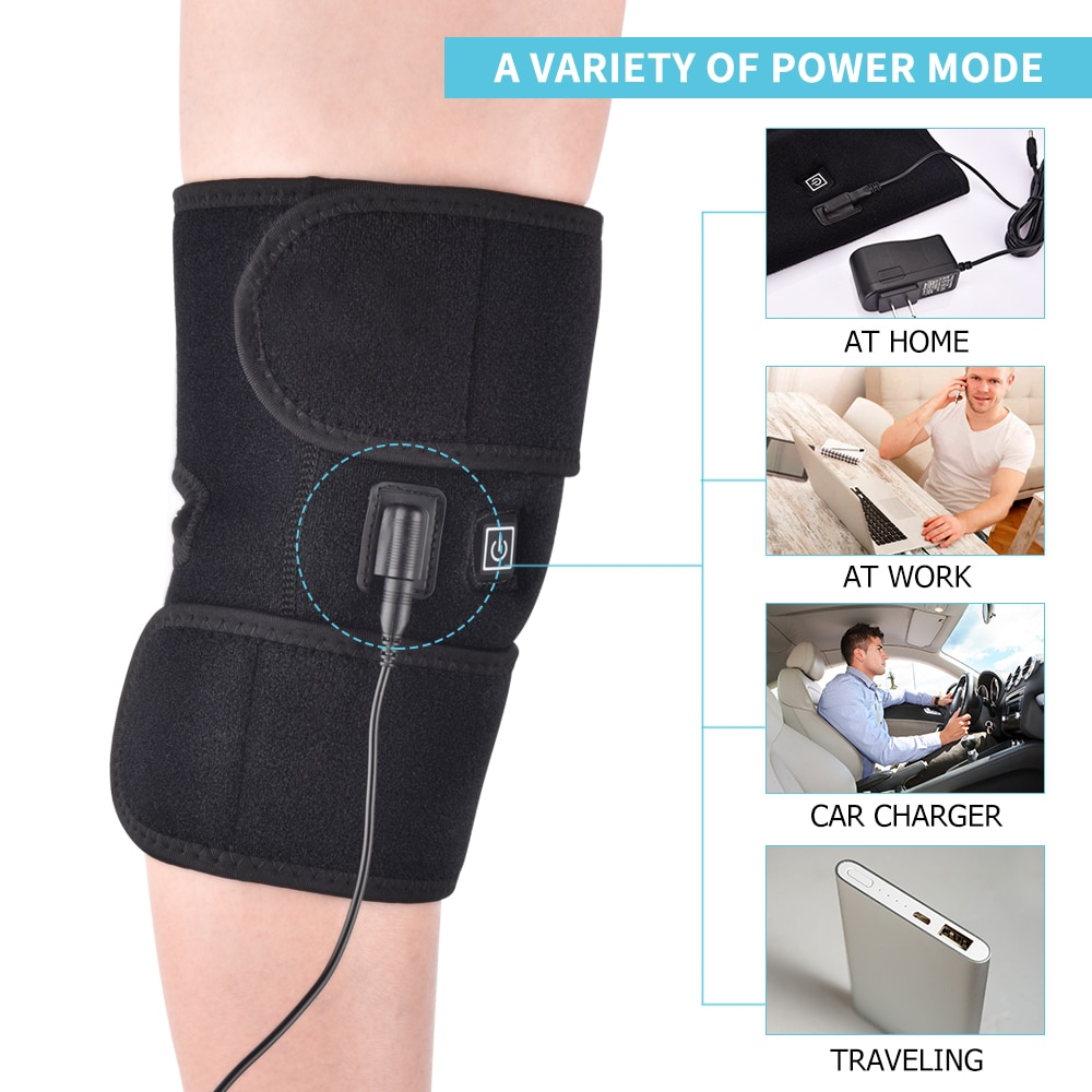 Knee Joint Therapy Heating Massage Health Care Pain Relief Knee Protection Support Belt Heat Knee Massager Relaxation Home
