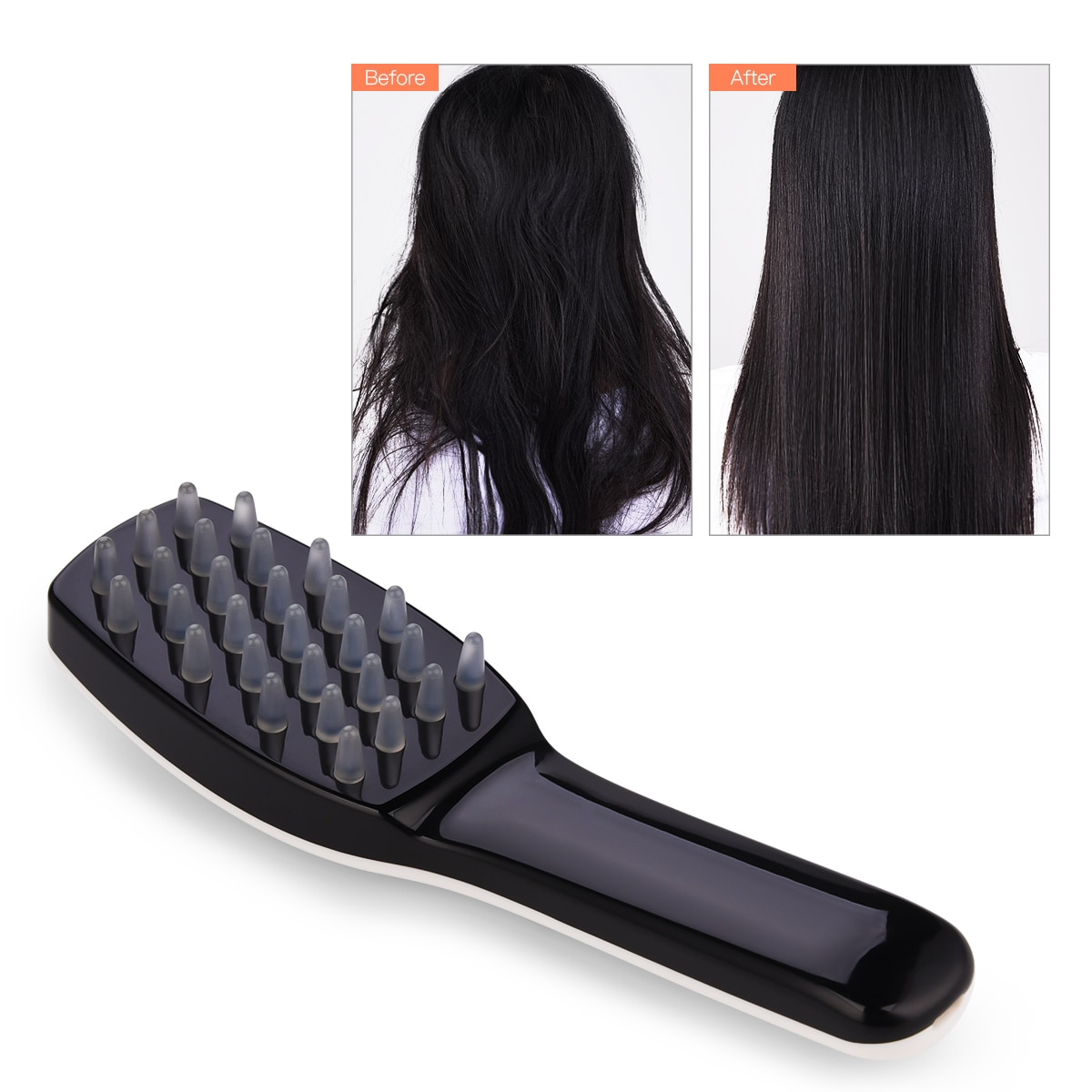 CkeyiN Phototherapy Vibration Massage Comb Scalp Brush Stress Relief Neck Back Anti Hair Loss Blood Circulation with LED Light