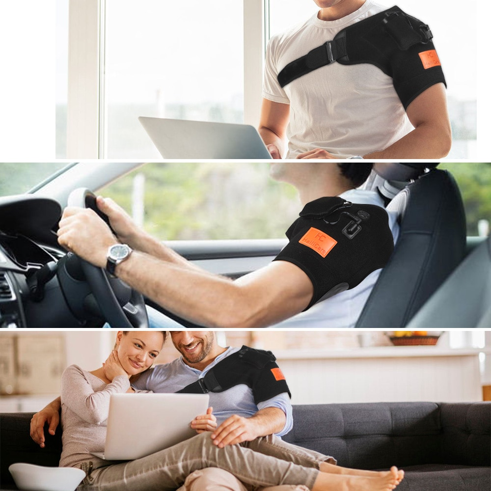 Wireless Heating Shoulder Massage Physiotherapy Vibration Pain Relief Shoulder Brace Support with Powerbank Temperature Adjust