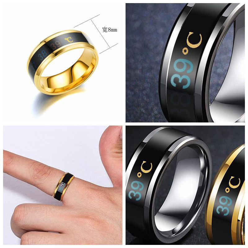 Kristi Tina Fashion Intelligent Thermometer temperature measuring ring Stainless steel simple creative Couple wedding jewelry Dr