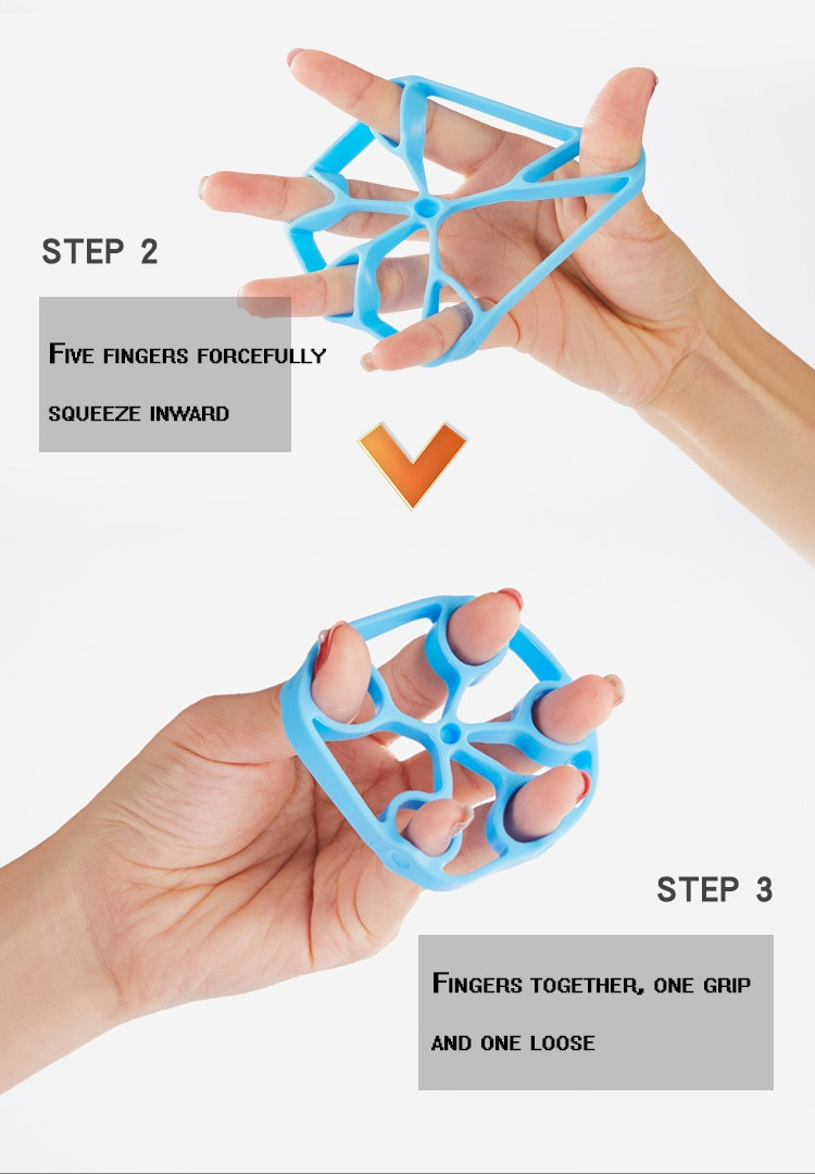 Hand Finger Trainer Silicone Gripper Strength Workout Hand Muscle Training Finger Rehabilitation Trainer Grip Ring Exerciser