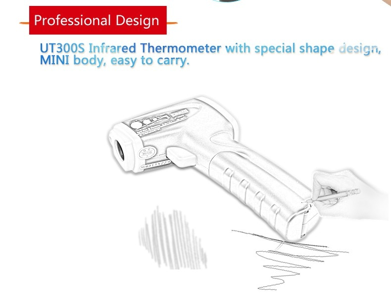 UNI-T UNI T UT300S Infrared Digital Thermometer Industrial Non-contact Thermometer Digital Gun Temperature Measurement Device