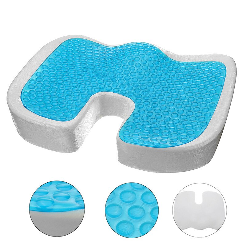 Gel Memory Foam Seat U-Cooling Effect Acne Orthopedic Coccygeal Sciatica Tailbone Relief Office Homepage