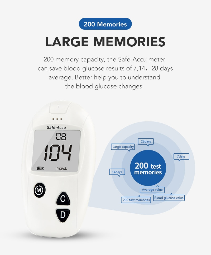 SINOCARE Accu blood glucose meter & Test Strips & Lancets 50/100pcs Glucometer kit Diabetic Blood Sugar meter Diabetes Tester
