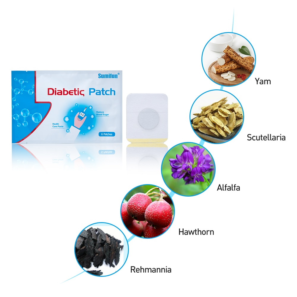 6Pcs/bag Diabetic Patch Diabetes Herbal Diabetes Cure Lower Blood Glucose Treatment Sugar Balance Plaster K03201