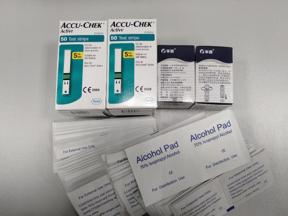 100PCS (no coding chip) Expiry 31th 12.2020 Accu-Chek Active Test Strips ,Sterile towel Hand sanitizer Alcohol Pad