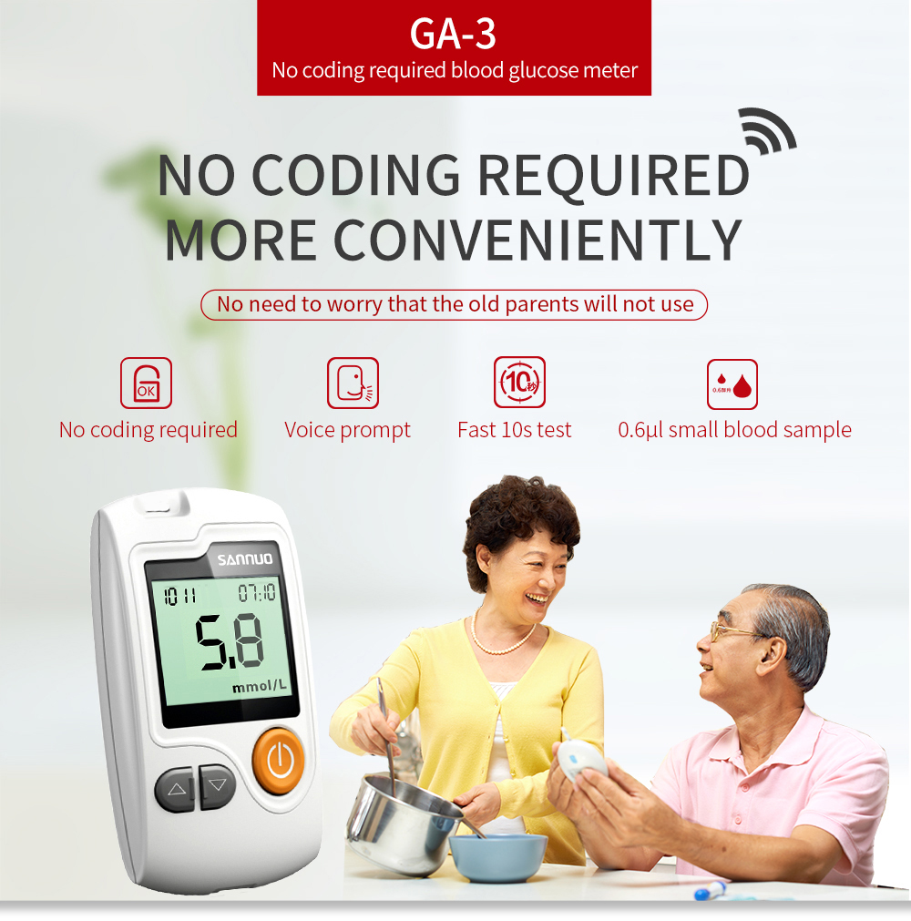 SINOCARE Glucometer GA-3 Blood Glucose Meter with 50/100pcs Test Strips Lancets Medical Blood Sugar Meter Diabetes Test