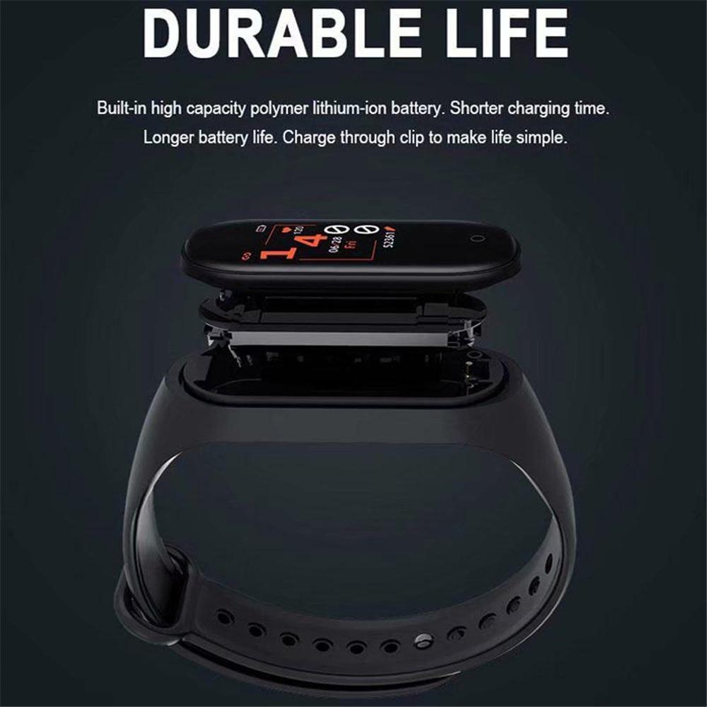 M4 Sport Fitness Pedometer Color IPS Screen Smart Bracelet Blood Pressure Wristband Walk Step Counter Smart Band Men Women Watch