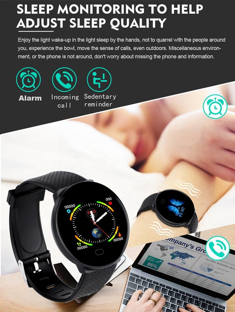 DOOLNNG 2020 D19 Smart Watch women Heart Rate Blood Pressure Health SmartWatch Men Bluetooth Watch Wristband Fitness Tracker
