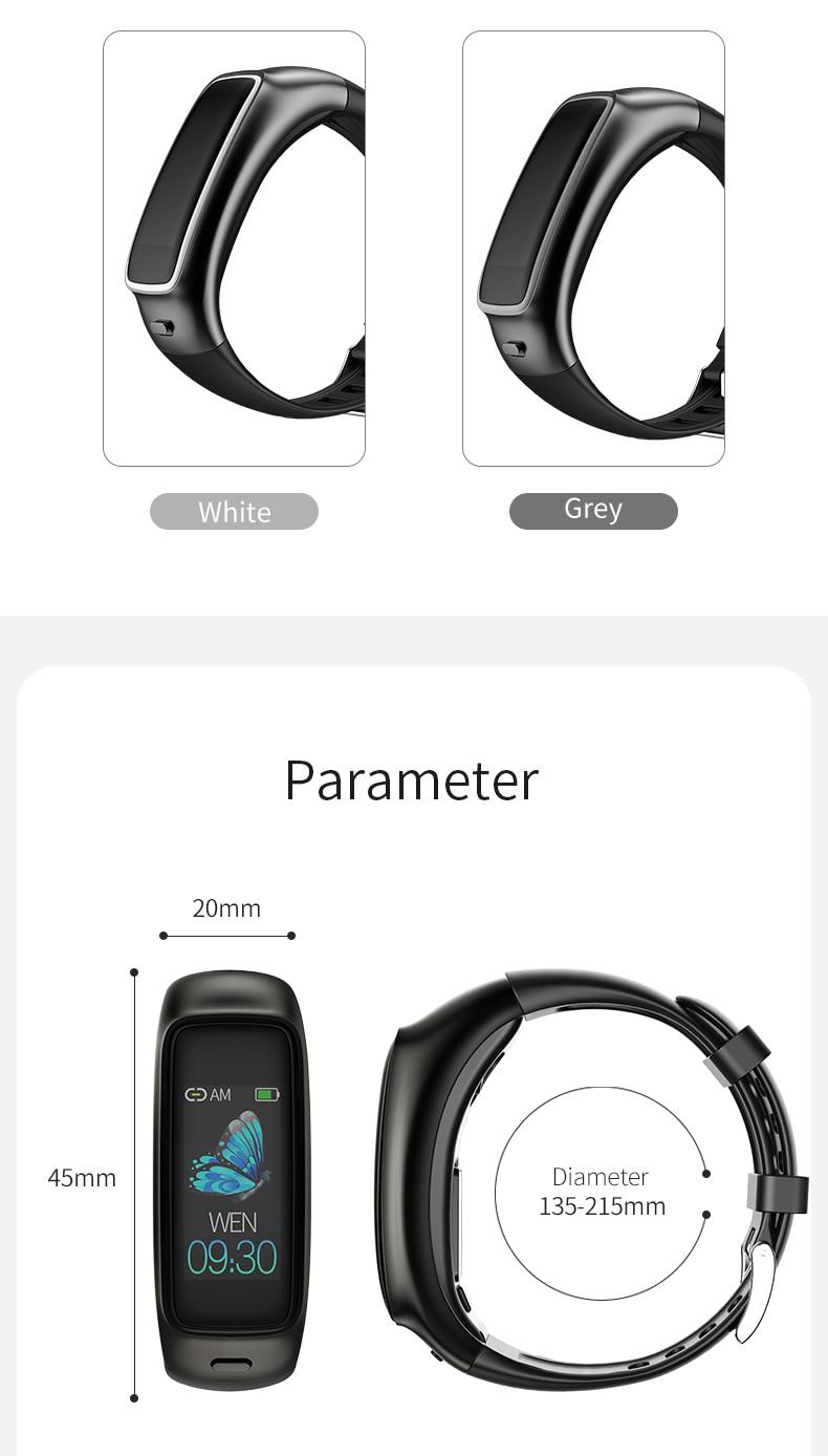 TB02 Smart Bracelet Bluetooth Earphone 2 in 1 Wireless Headset Noise Reduction Heart Rate Blood Pressure Monitor IP67 Waterproof