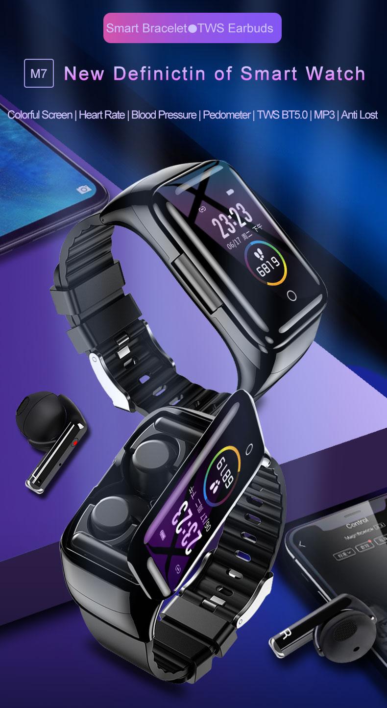 M7 Smart Watch TWS Earphones 2 in 1 Bluetooth BT5.0 Sport Business Wristband Fitness Tracker Heart Rate Monitor Earbuds Bracelet