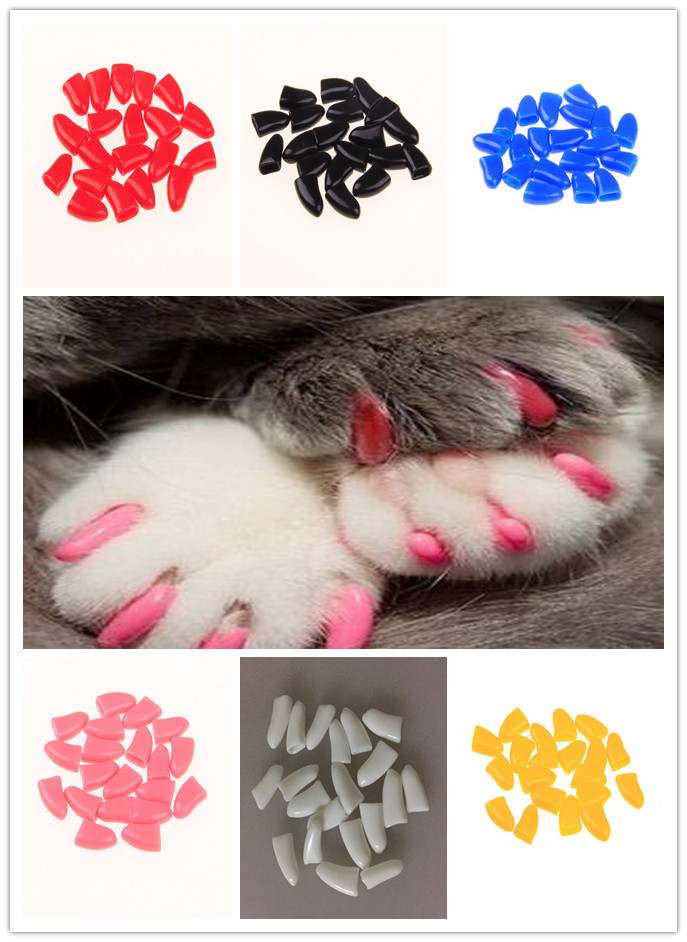 20Pcs Dog Cat Nail Caps Soft Silicone Anti-scratch Paw Nail Cover Protector Puppy Pet Claw Grooming Manicure Dog Cat Nail Care