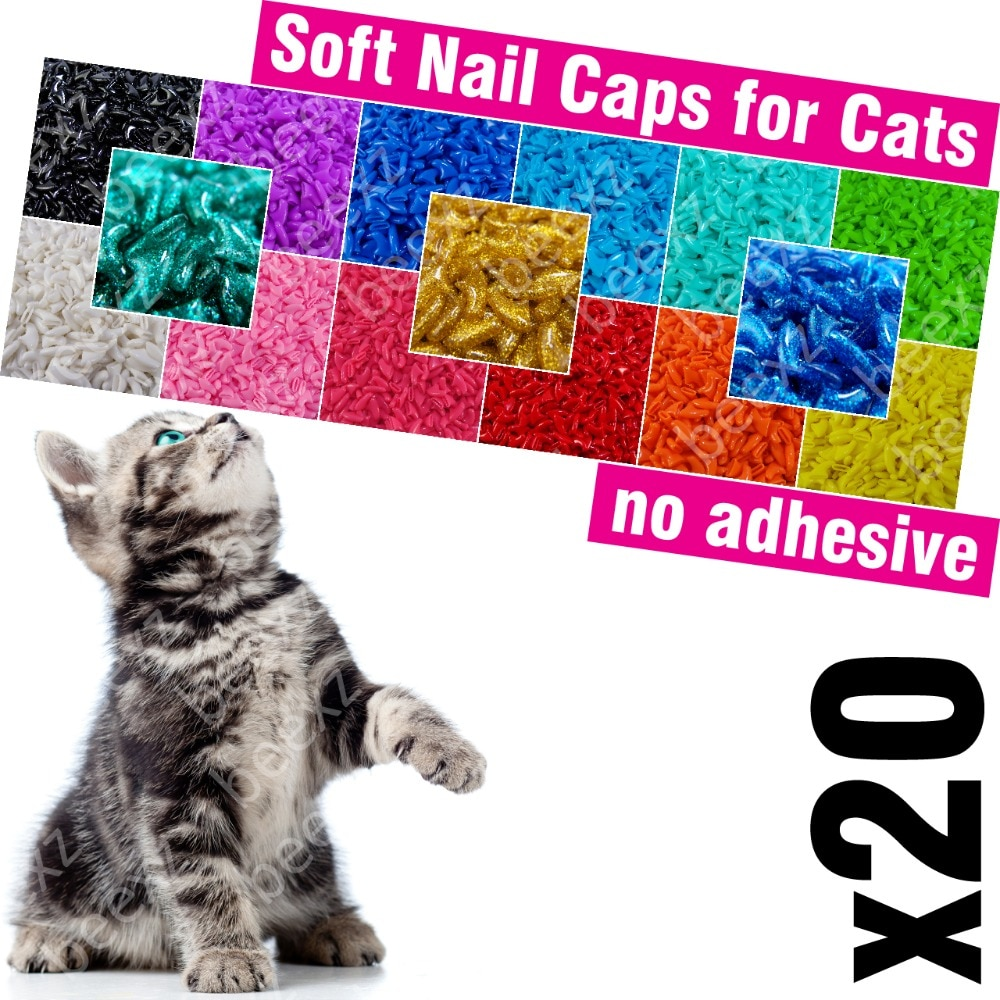 20pcs - Soft Nail Caps for Cats /* XS, S, M, L, cover, cat, paw, claw, zet */