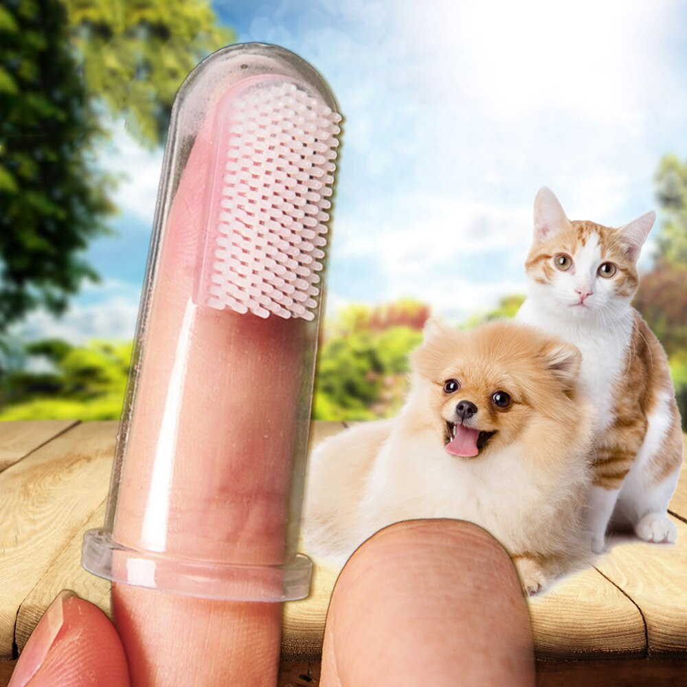 1Pc Super Soft Pet Finger Toothbrush Dog Kitten Cleaning Supplies Teddy Puppy Brush Addition Bad Breath Tartar Teeth Care